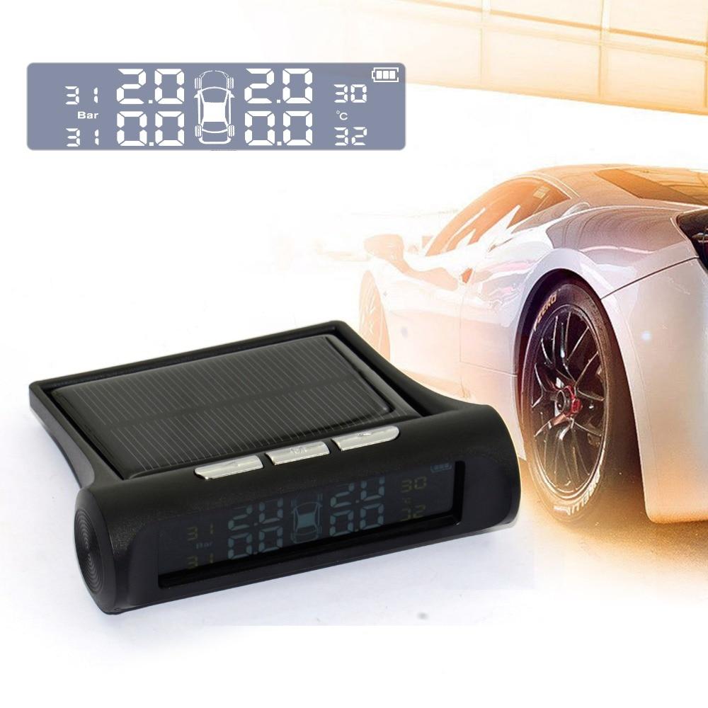Professional Solar TPMS Car Tire Pressure Alarm Monitor System Display 4 External Sensors Temperature Warning Fuel Save 12