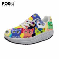 FORUDESIGNS Women Lace up Shoes Sneakers Lovely Cat Ladies Breathable Shoes Fitness Shake Shoes Slimming Wedges Swing Shoes