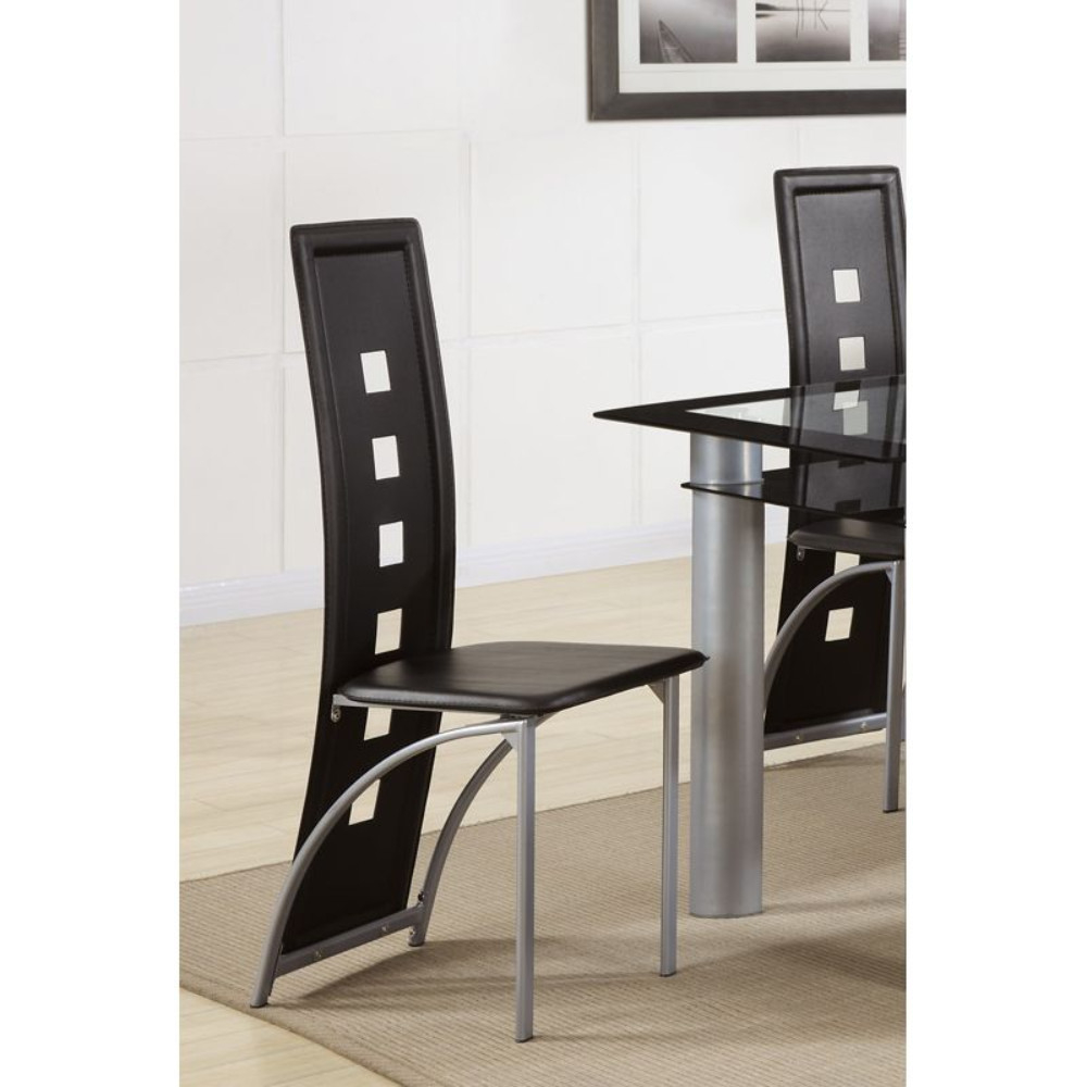 Contemporary Metal DINING CHAIR with cutout Back Set of 2 BLACK and CHROME light blue cutout back