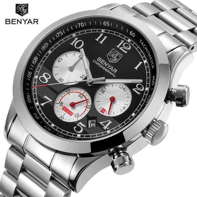 3762f17555cc BENYAR deporte impermeable cronógrafo hombres reloj Top marca de lujo de  acero inoxidable de cuarzo militar