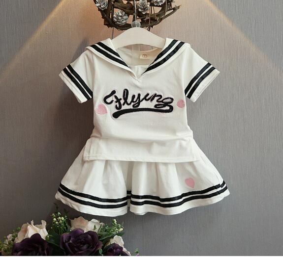 New Baby Girls sailor navy wind cotton T-shirt + divided skirts Suit Children 2 pcs set wholesale