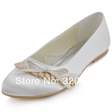 Shoes Woman EP41057 Round Toe Bow Ruffles Low Heel Satin Wedding Comfortable Size 12 Women's Flat Bridal Shoes