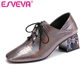 ESVEVA 2020 Women Shoes Autumn Square Med Heel PU+ Leather Lace Up Patchwork Woman Square Toe Shoes Winter Fashion Size 34-42