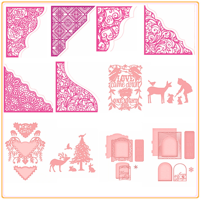 Cutting Dies Embossing DIY ,Lace Border Frame Metal Cutting Dies DIY Scrapbooking Emboss Paper Cards Stencil Silver