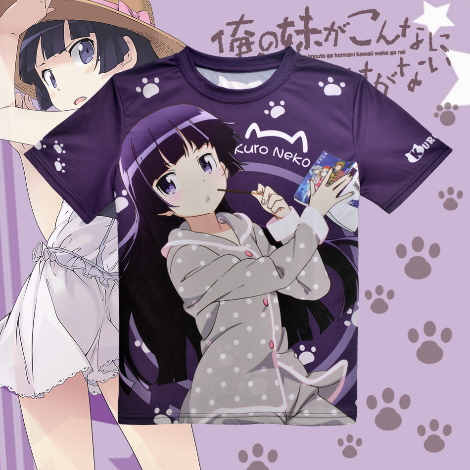 Anime japonés Oreimo camiseta Kuroneko, Goko Ruri Poliéster Camiseta Verano Animación activa Hombres Mujeres Ropa