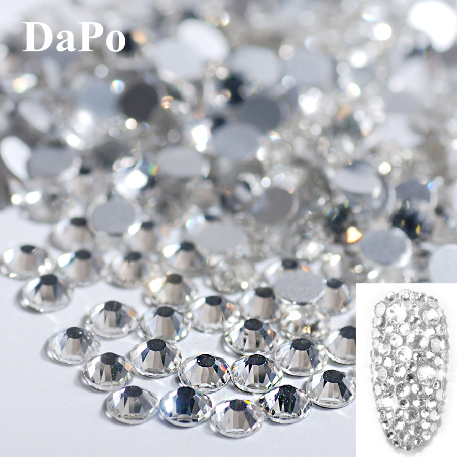 Clear White Ss16 Point Back Rhinestones Gems Glass Chatons Strass Nail Art Superior Materials Parts & Accessories