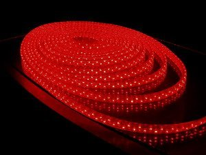 100m/roll LED 3 wires flat rope light;30leds/m;size:11mm*18mm;DC12V/24V/AC110/220V are optional;red color