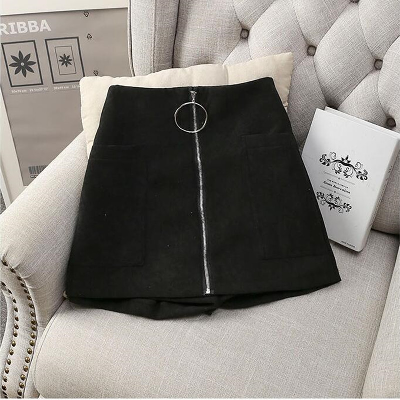 MUMUZI Thick Cotton Blends Shorts Black Wide Leg Trousers High Waist Front Zipper Short Trousers With Pockets Mini Shorts Skirt