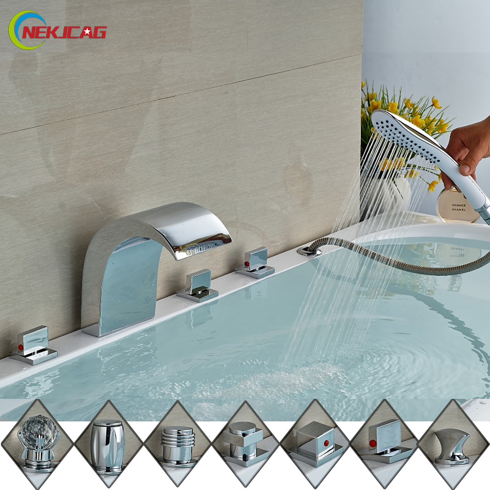 Luxury Three Crystal Handles Widespread Waterfall Bathtub Faucet 5 Holes Deck Mounted Tub Mixer with Handshower цена