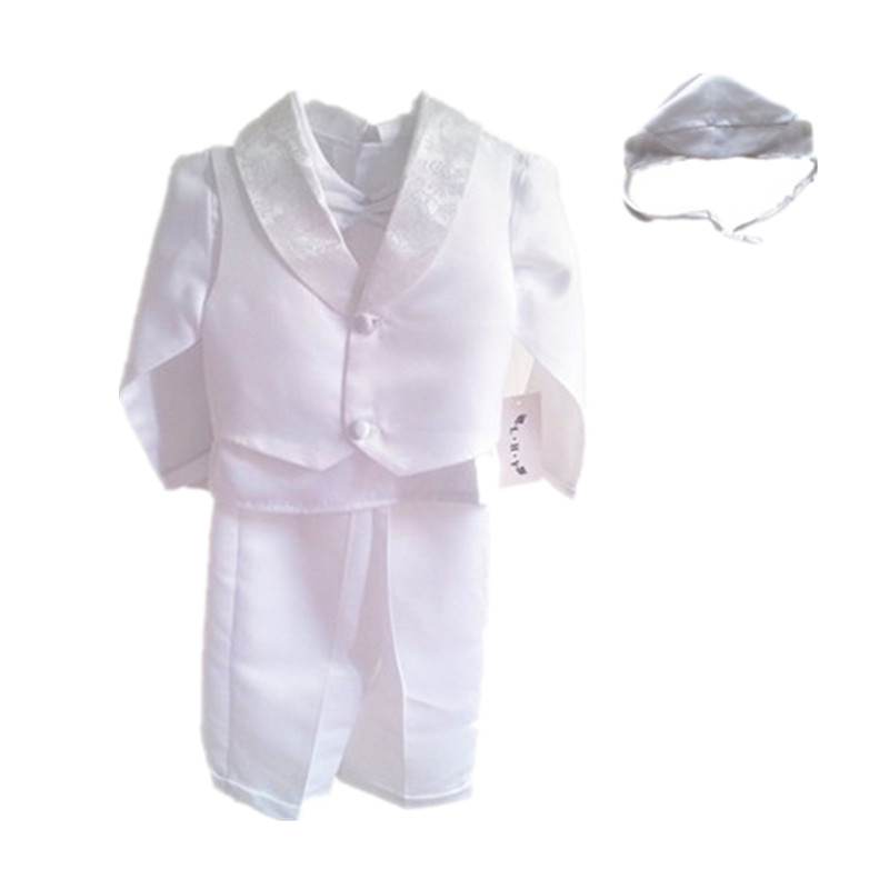 BBWOWLIN 4 pièces blanc col en v bébé garçon vêtements pour baptême robes de baptême nouveau-né-2 T 80685C