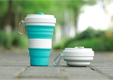 50pcs 5 Colors Collapsible Silicone Coffee Cups Outdoor Travel Portable Folding Water Cups 550ml Free Shipping wen7010