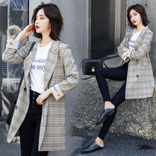 Little Suit 2019 Autumn New Women Double Row Buckle Checked Suit Winter Clothes High Quality Women Fashion Plaid Sexy Suit