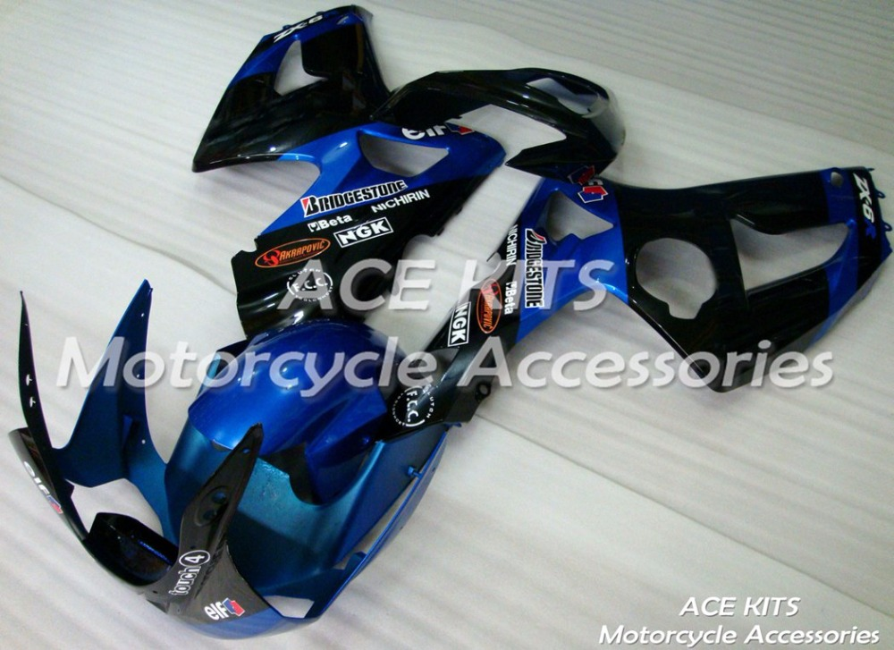 New ABS motorcycle Fairing For Kawasaki ZX-6R 636 2003-2004 Injection Bodywor sensational black blue ACE No.906New ABS motorcycle Fairing For Kawasaki ZX-6R 636 2003-2004 Injection Bodywor sensational black blue ACE No.906