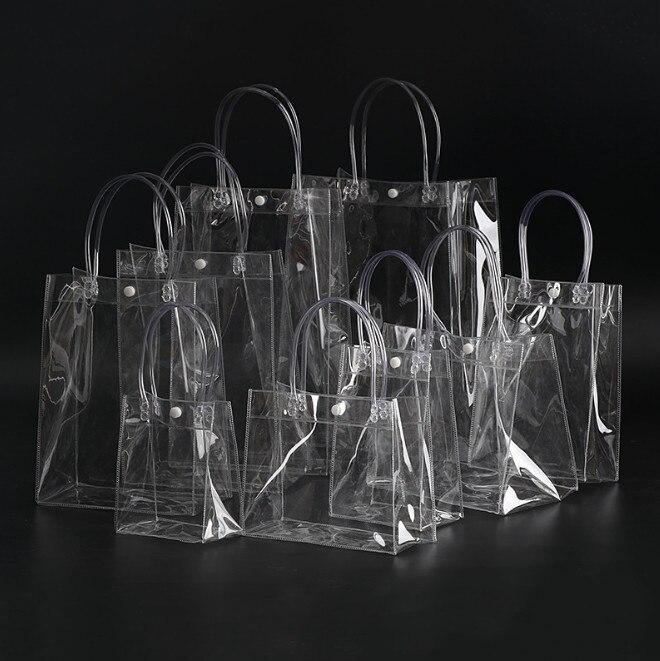 1 Pc Neue Mode Frauen Klar Transparent Einkaufstasche Tote Neue Strand Tasche Handtasche Recycling Pack Feste Große Eimer Für Frauen Männer