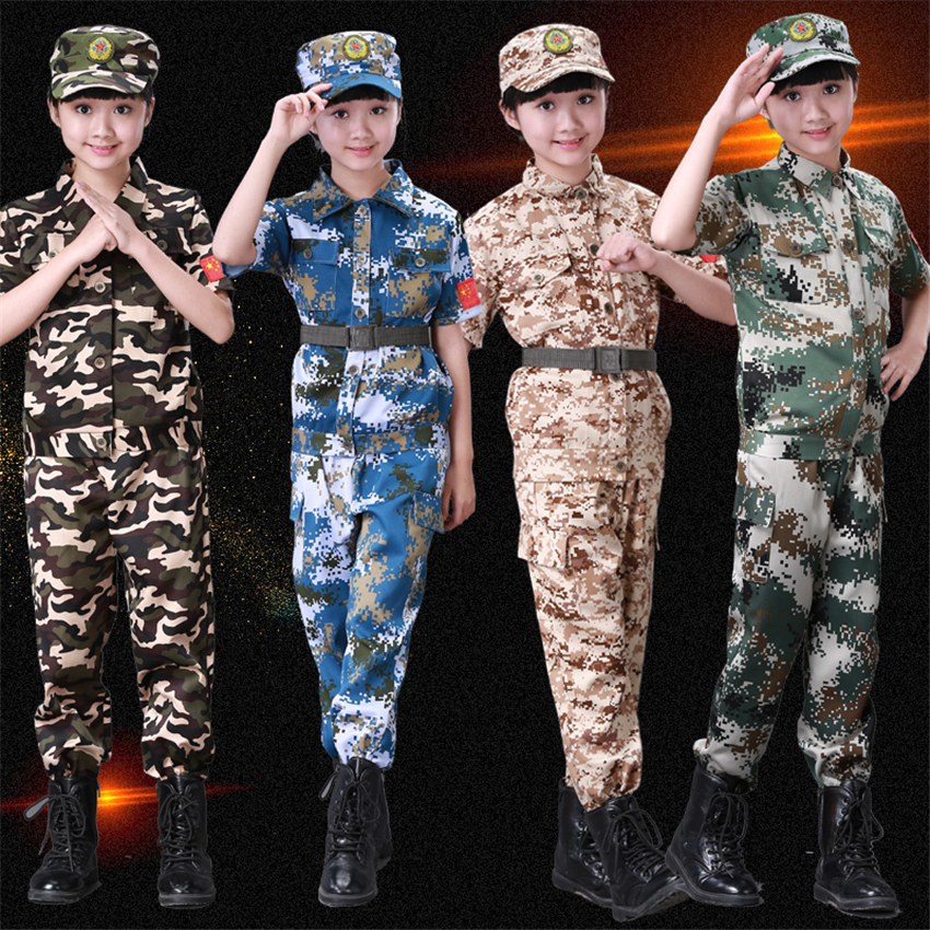 Kids Army 100-180cm Adult Children Suit Training Clothing Set Kids Boys Camouflage Jacket Teenager Girl Cosplay Military Uniform