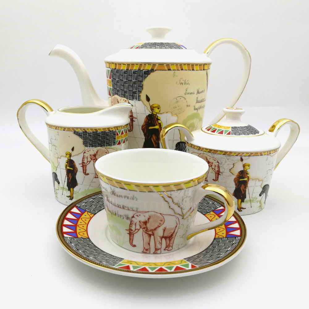 Retro Egyptian Style Art Bone China Tablerware Set Map Of Africa