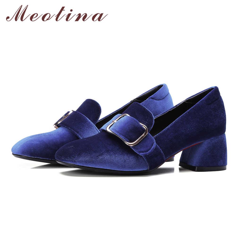 947110fcc04 ... Meotina Women Pumps Velvet Shoes 2018 Brand Designer Thick Heels Ladies  Shoes High Heel Buckle Female ...