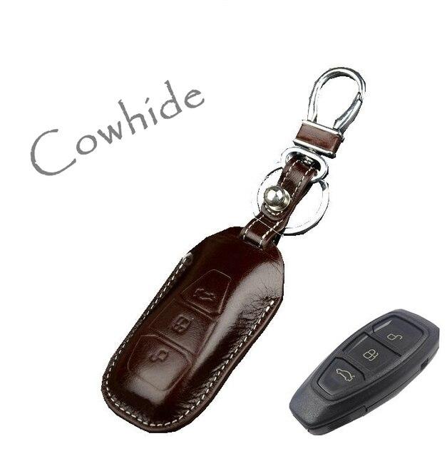 Натуральная кожа брелок для ключей для фокус 3 Kuga Ecosport край Mondeo кожа смарт-чехол кольцо дистанционного брелок высокое качество