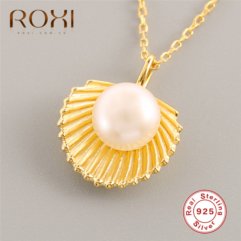 ROXI Bohemian Sea Shell Pendant Necklace for Women Fashion Summer Style Pearl Boho Jewelry 925 Sterling Silver