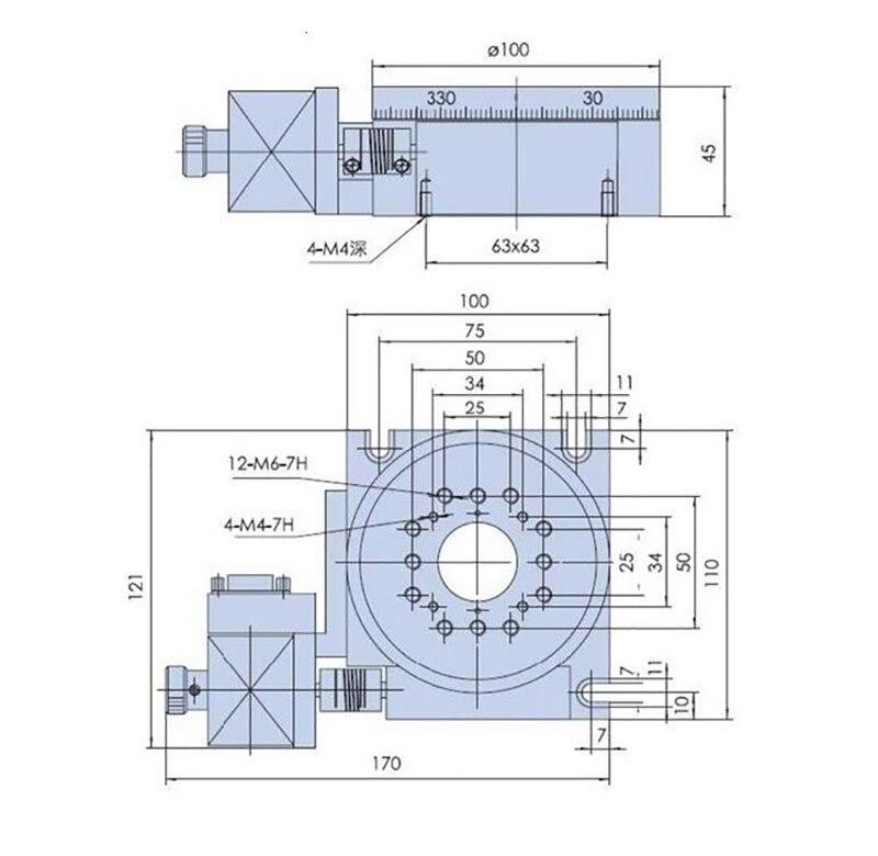 Elektrische Roterende Machine Optische Roterende Platform Gemotoriseerde Rotatie Stage 100 Mm Lager Schaal PX110 100 Y - 4