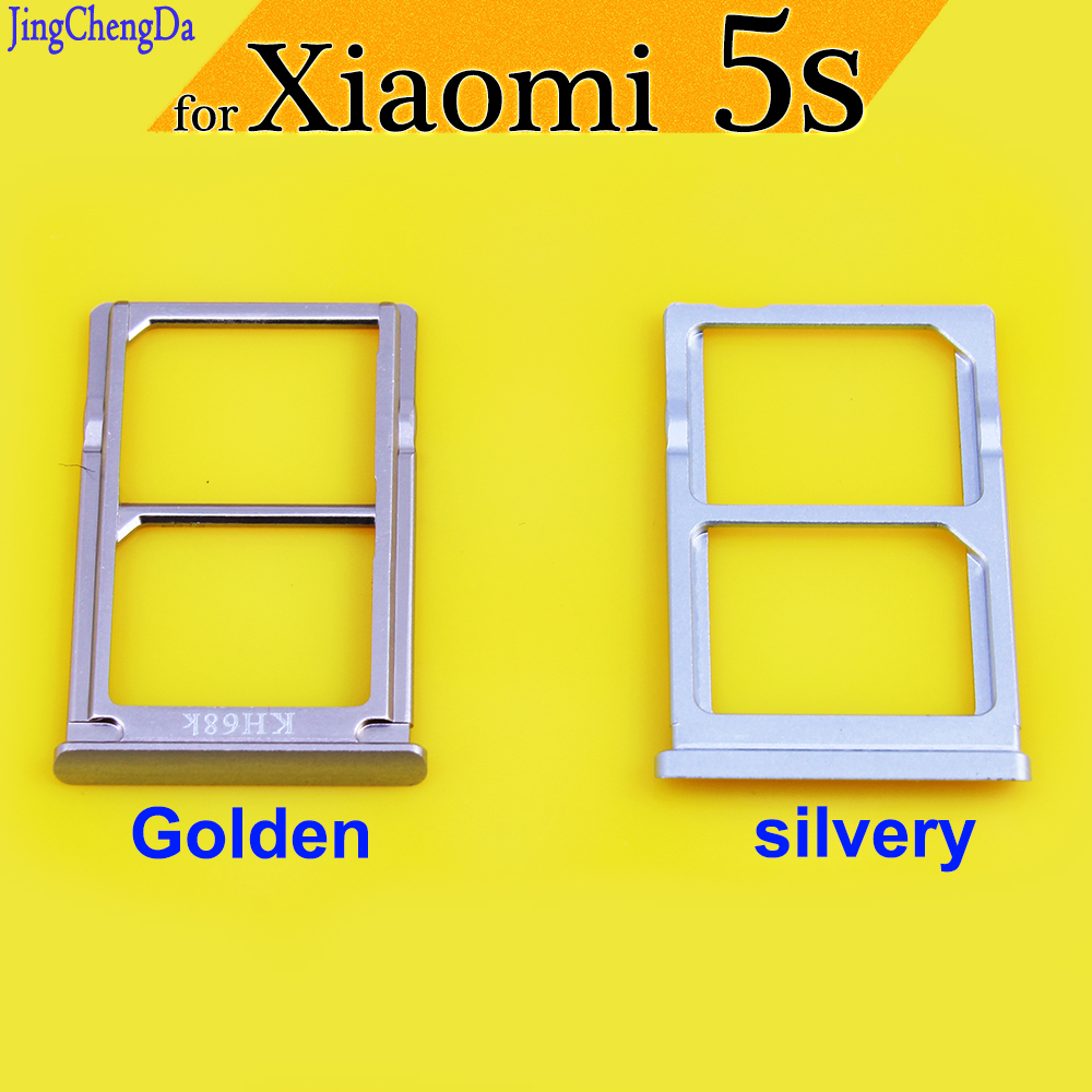 Jing Cheng Da Golden/silvery Dual SIM Holder Sim Tray For Xiaomi Mi5s 5s Micro TF Card Replacement Repair Parts