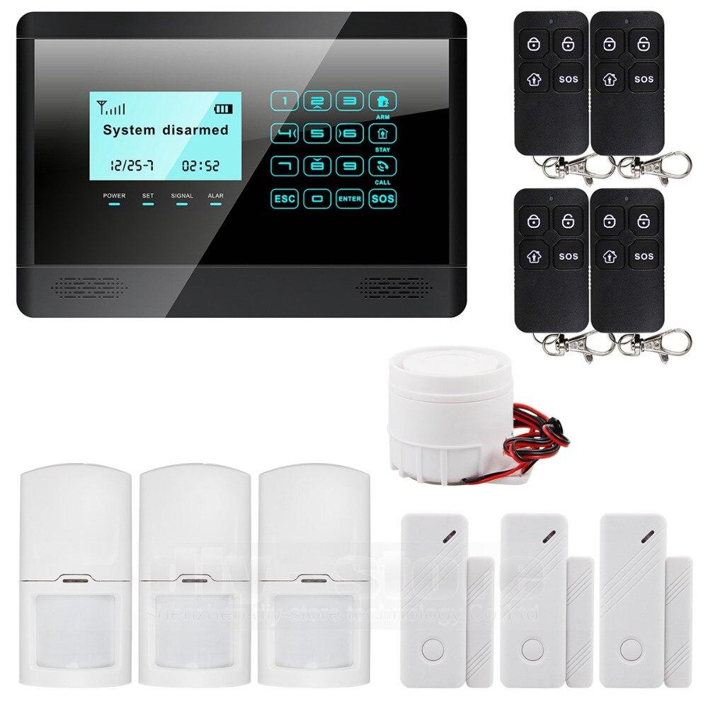 Diysecur Беспроводной и проводной GSM SMS дома Безопасность Inturder сигнализации Системы Siren двери Сенсор PIR пульт дистанционного управления