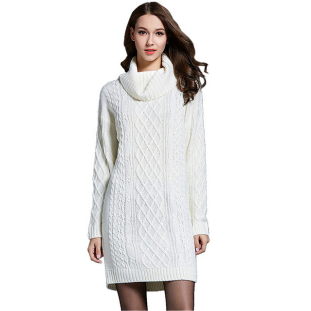 2018 Autumn Winter Thick Twist Long Sweater Dress For Women Long Knitted  Dresses White Turtleneck Sweaters