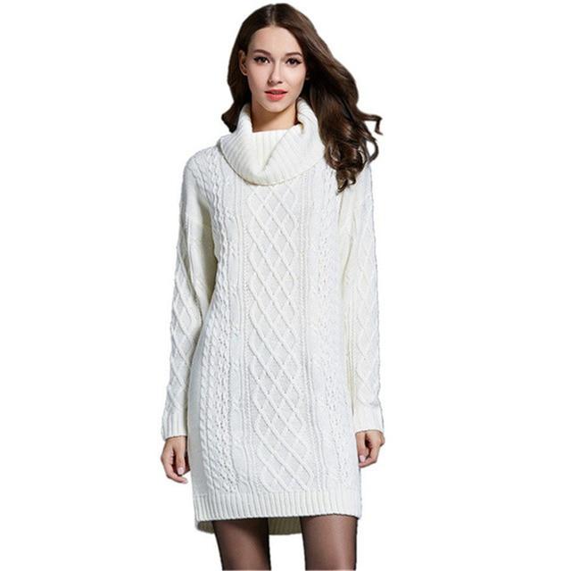 f73b7b4838 2018 automne hiver épais torsion longue robe pull pour les femmes longues  robes tricotées blanc col