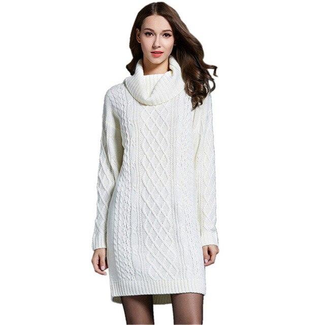 db067337bda 2018 осень-зима толстые твист длинные Платья-свитеры для Для женщин длинные вязаные  платья