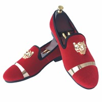New Fashion Men Red Velvet Loafers Slippers Buckle Men Velvet Shoes With Gold Accents Prom And