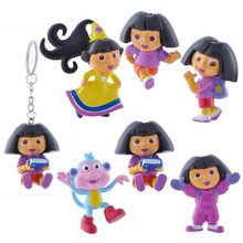 6 Pcs/lot NEW Dora The Explorer Adventures of Model Toys Furnishing Articles Action Figure 5CM Holiday Gifts Boots Ornament