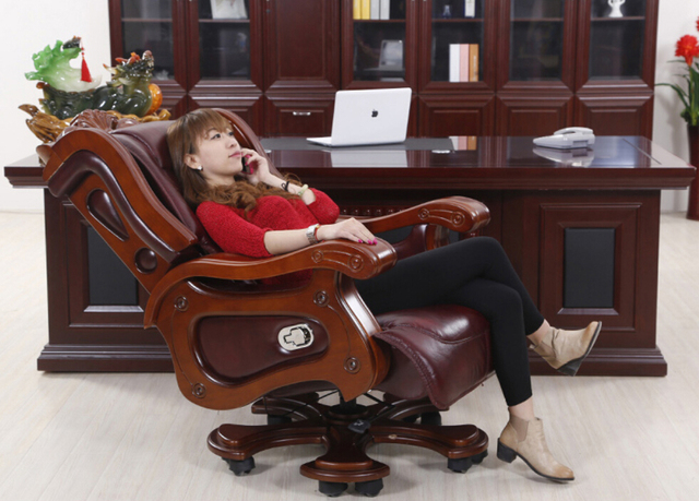 Luxury Mage Chair Boss Leather Reclining Thick High Grade Swivel Office