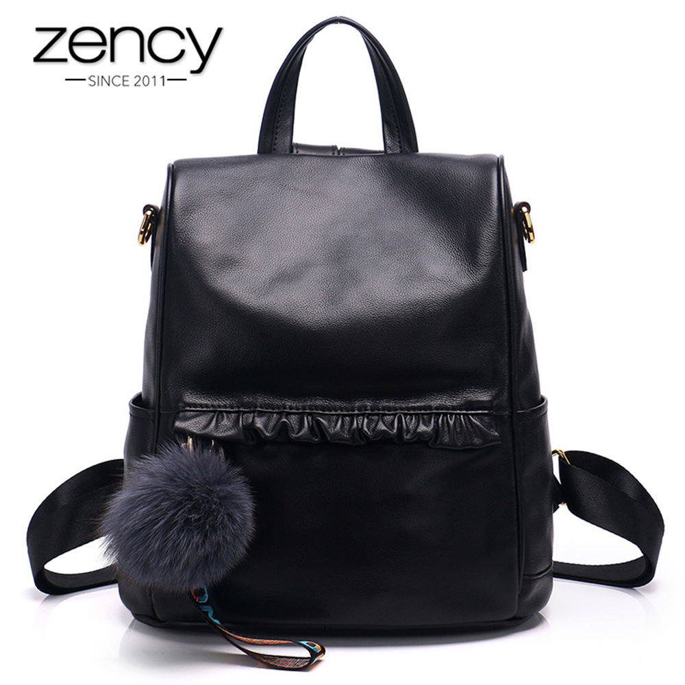 Zency Black New Model Women Backpack 100% Real Cow Leather Fashion Travel Bag Lady Daily Knapsack Large Capacity Girls SchoolbagZency Black New Model Women Backpack 100% Real Cow Leather Fashion Travel Bag Lady Daily Knapsack Large Capacity Girls Schoolbag