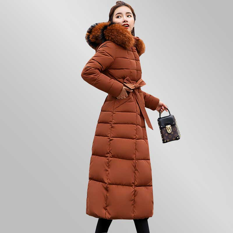 2018 New Women Winter Long Jacket Hooded Fur Collar Padded Overcoat Plus size belt Slim Down Cotton Coat Fashion   Parkas   WZ754