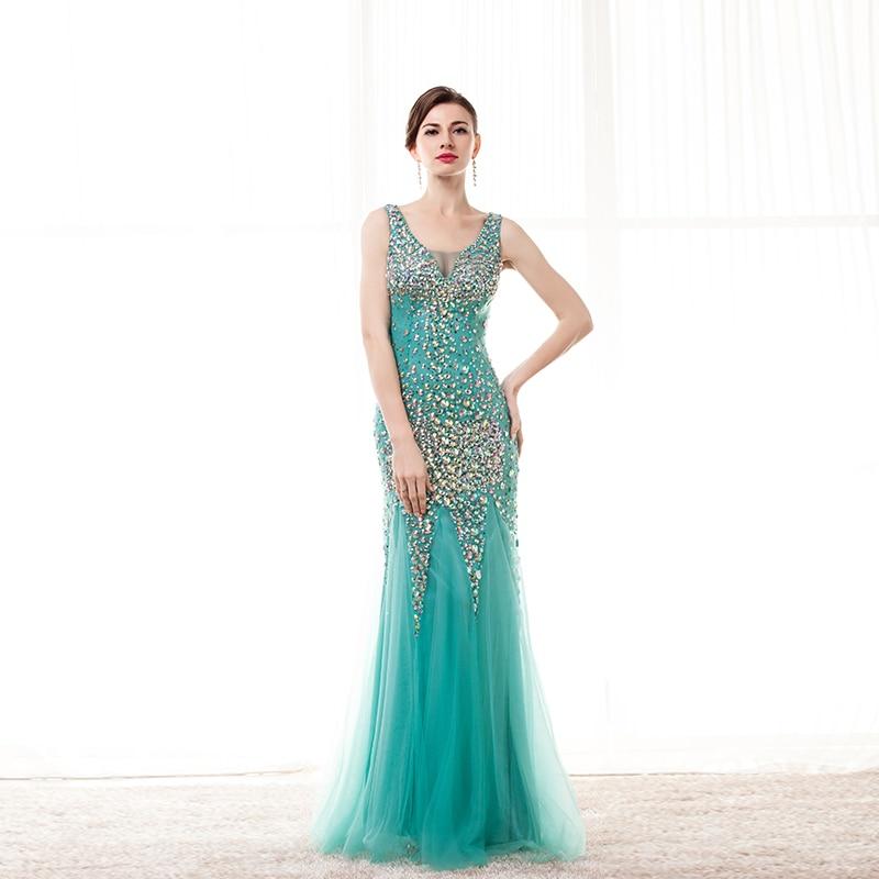 CEEWHY Green Elegant Long Evening Dresses 2018 Diamond Mermaid Formal  Evening Dress Tulle Dubai Dress Robe de Soiree Longue 2018 55e26190f93c