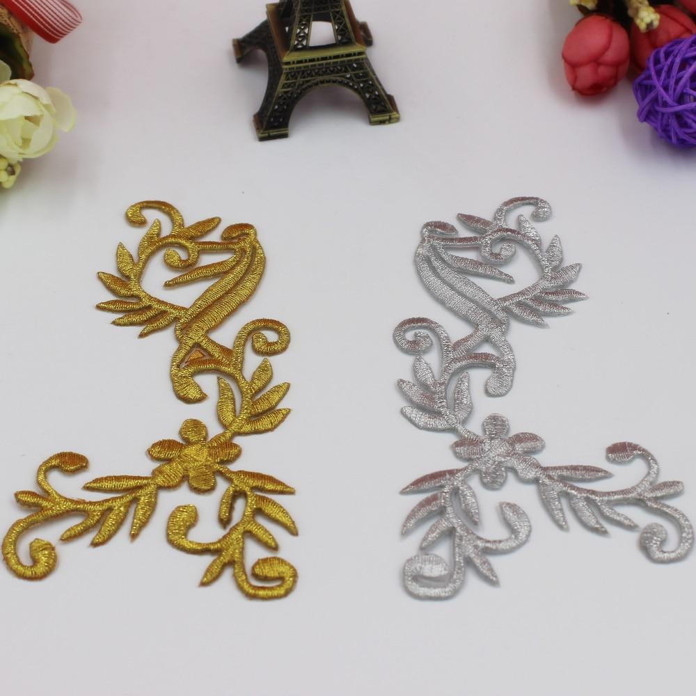 Guld- och silvblommaapplicerad spegelpar 5 par strykjärn på broderade plåster 3D Venise Vintage Women Diy Trims 6,5 * 12,5 cm Diy