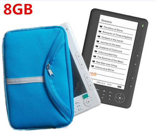 Qinkar 7inch screen ebook reader 8GB+free sponge sleeve PDF e-book mp3 video Recording TF Card slot Multi-Language ereader