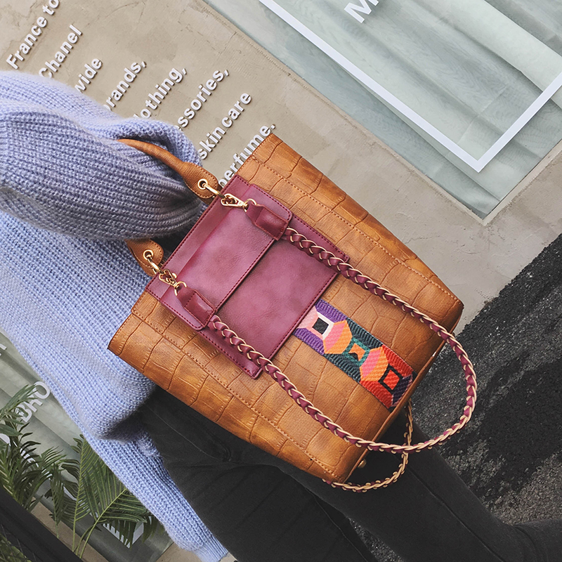 ФОТО 2017 stone pattern patchwork bucket  big bag casual fashionable women's handbag embossed  simple style