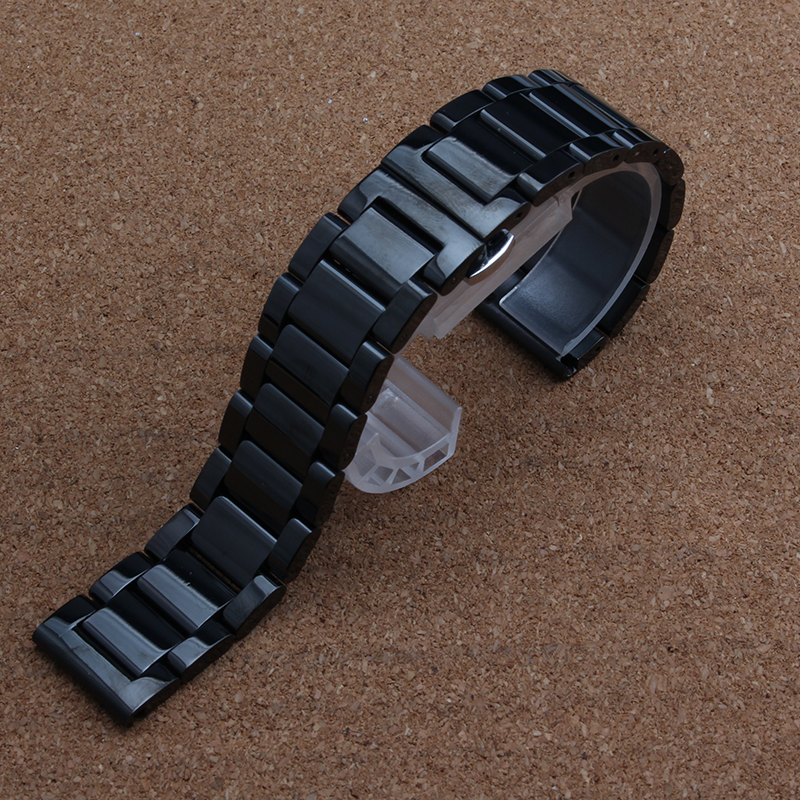 Black Metal Watchband Waterproof Divers Watch Strap Band18MM 19MM 20mm 21MM 22MM 24MM For brand men
