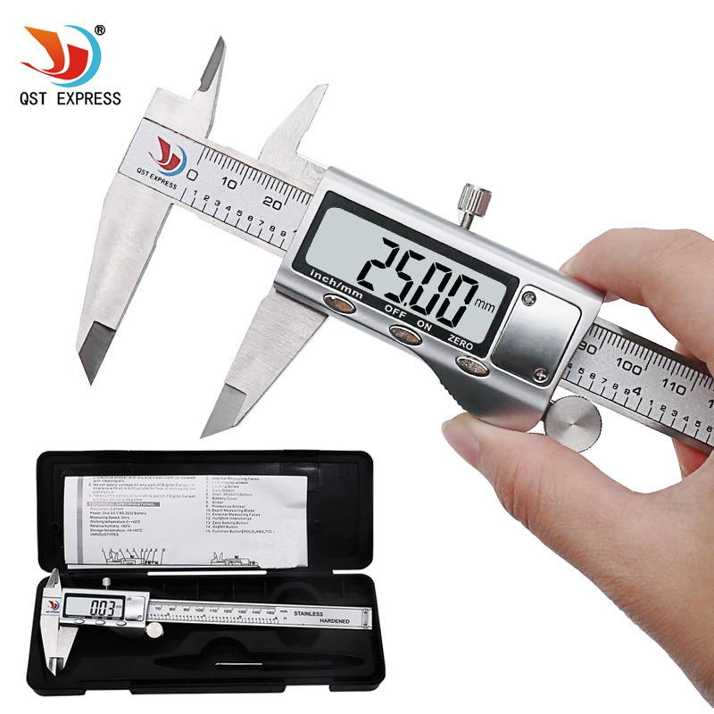 "QSTEXPRESS 0-150mm/6"" Metal casing Digital CALIPER VERNIER caliper metal digital caliper GAUGE MICROMETER"
