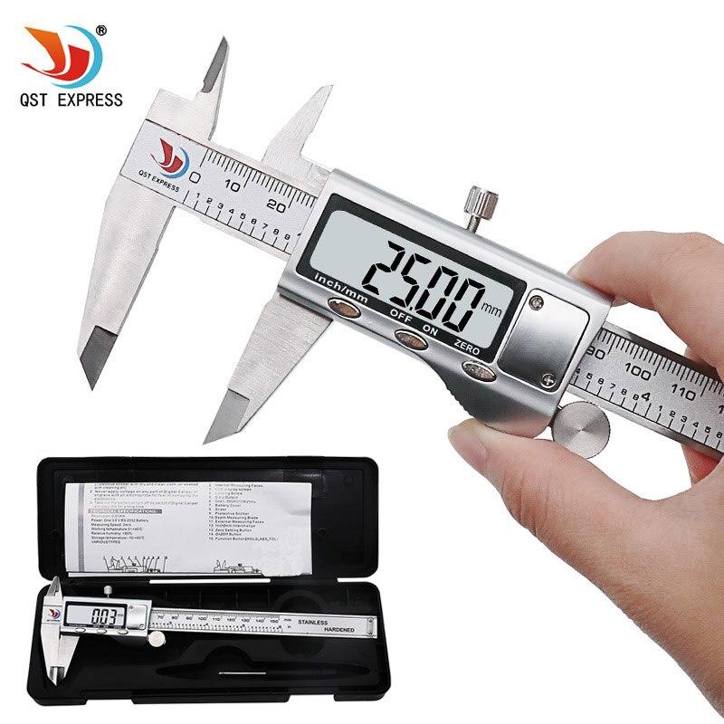 QSTEXPRESS 0-150mm/6 boîtier Métallique Numérique ÉTRIER VERNIER étrier en métal numérique étrier MICROMÉTRIQUES