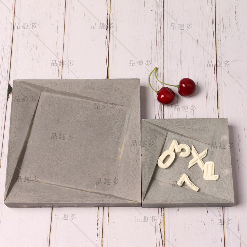 Cement Concrete Tray Silicone Mold Simple Square Frame Jewelry Tray