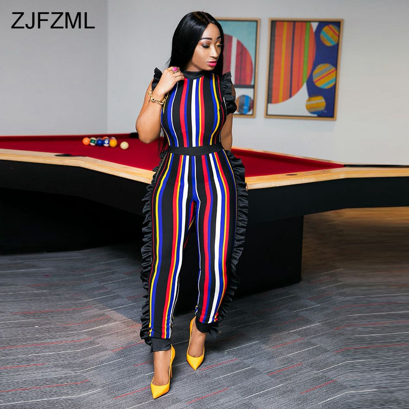 729c68c1300 ZJFZML Double Side Ruffle Sexy Skinny Catsuit Women Sleeveless Round Neck  Party Romper Colorful Vertical Striped Long Jumpsuit