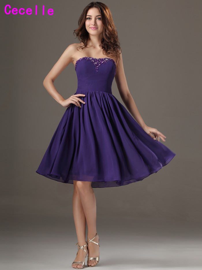 Casual Purple Short Beach Bridesmaid Dresses Knee Length Beaded A ...