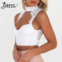 2017 New Sexy Women Black White Pink Bandage Lace Tank Crop Tops Knitted Bra Luxury Celebrity