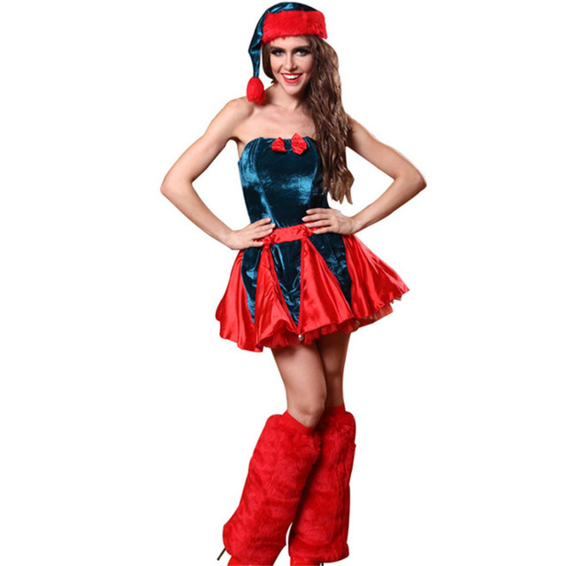 women mujer fantasias christmas halloween costume cosplay red sexy mini dress with santa hat autumn winter