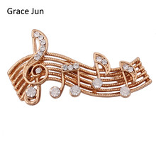 Grace Jun 2017  New Design Rhinestone Brooch for Women Party Wedding  Charm Jewelry Music Note Style Brooch Pin