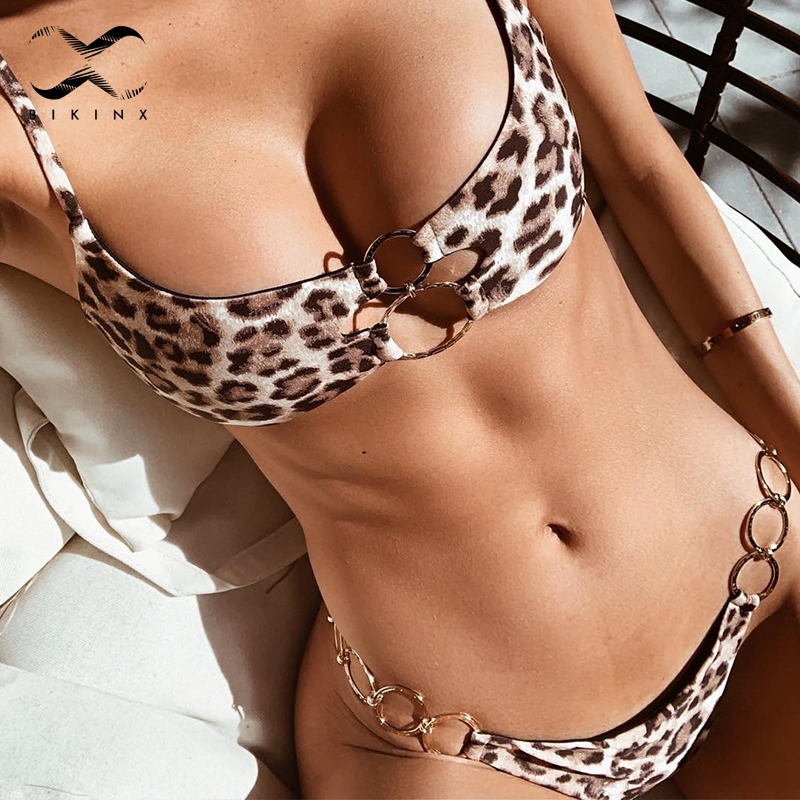Bikinx Brazilian Leopard Bikinis 2019 Mujer Bathers Bandeau Ring Black Swimwear Women Bathing Suit Push Up Sexy Swimsuit Female