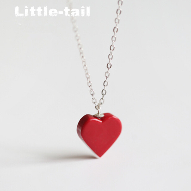 pendant gold heart red zirconia rose sweet necklace