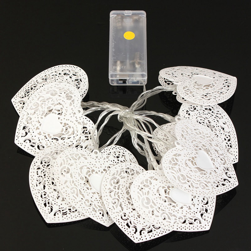 Mising Warm Cool White Metal Heart Shaped 10 LED String Light Wedding Party Christmas LED Fairy Light Battery Operated